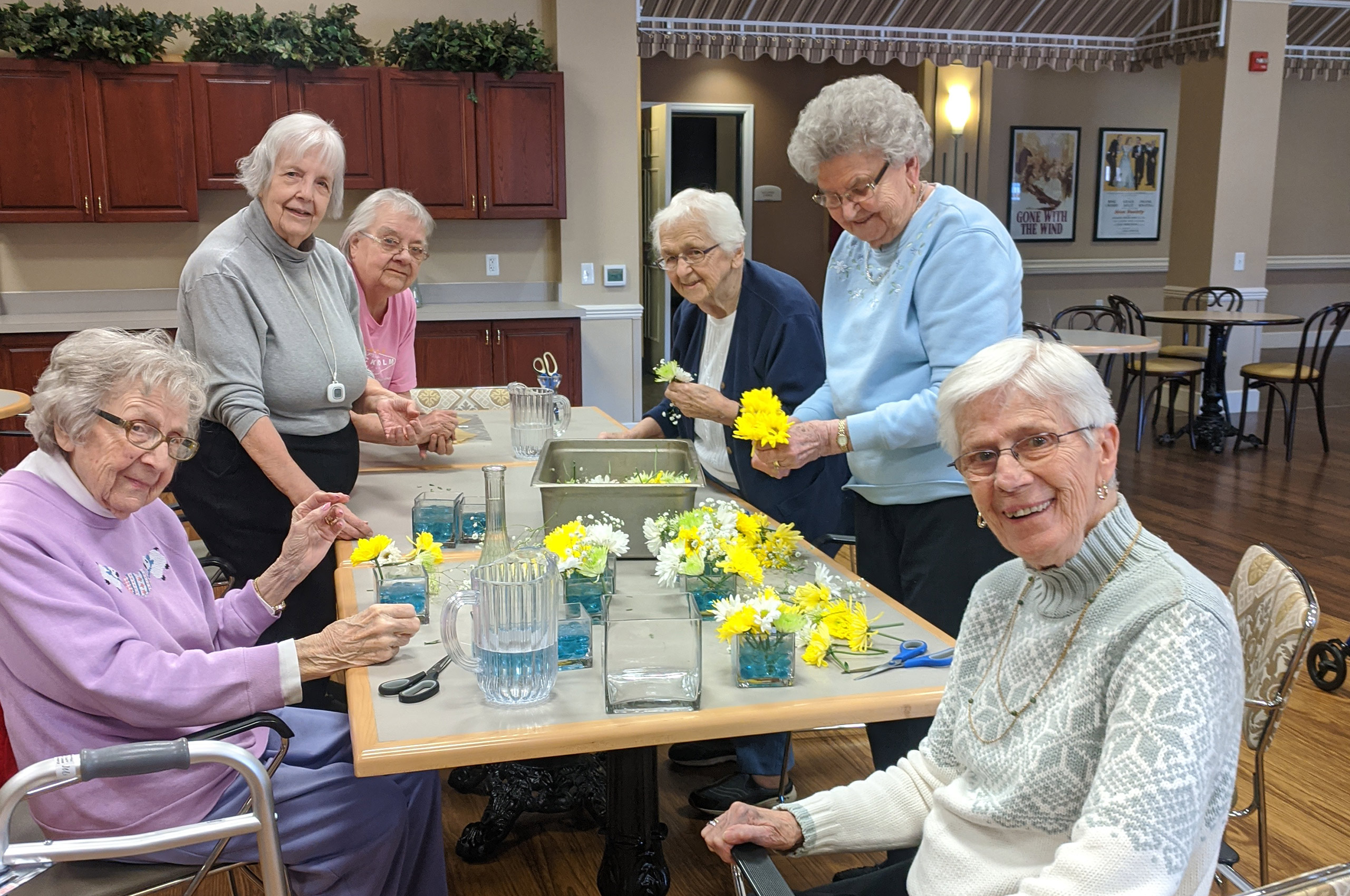making bouquets with yellow flowers
