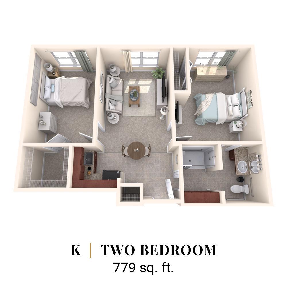 K   Two Bedroom