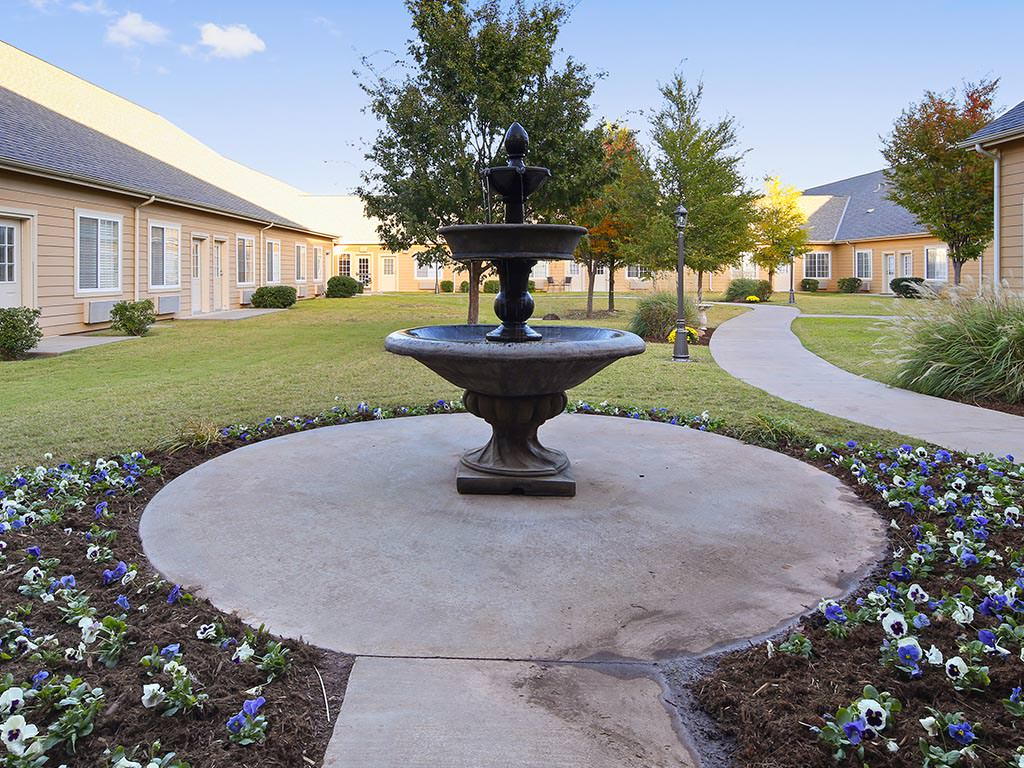 Assisted Living Outdoor Walkway and Garden Area