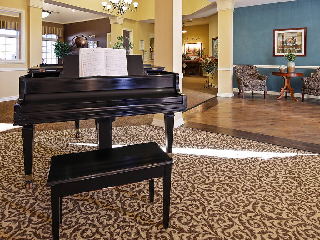 Assisted Living Common Room with Piano
