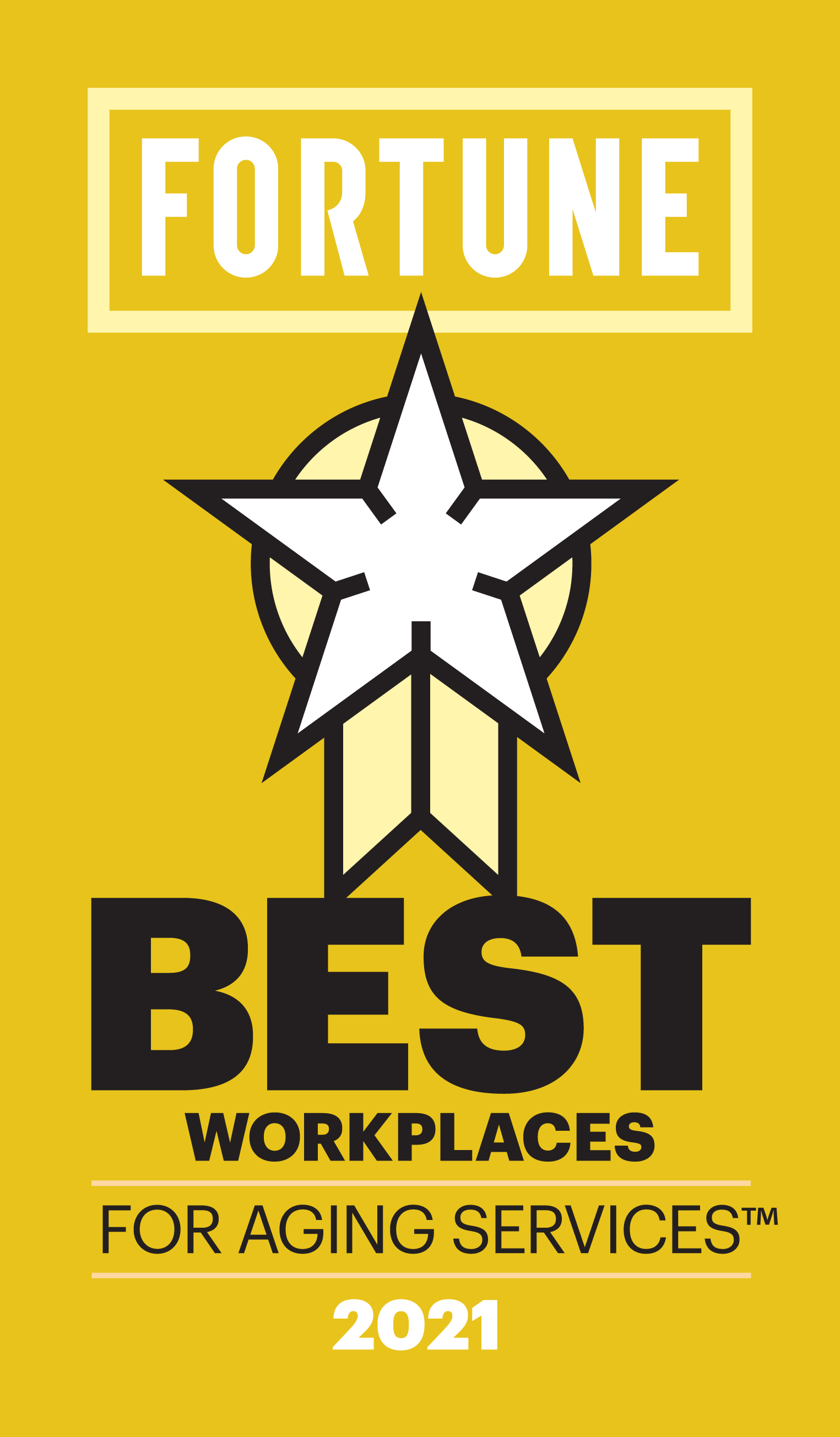 Fortune Best Workplaces for aging services 2021 logo